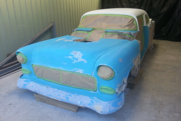 Craig Brown and Murray Smith 55 Chev body has been repaired