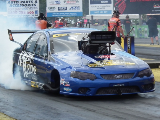Nigel Dixon top qualified, in the Kruzin Kustoms Falcon, recorded low ET and top speed, with a 6.154 at 242.32, and won the Aeroflow Top Doorslammer title.